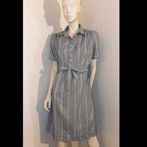 60s LANVIN Zig Zag Striped Shirtwaist Dress